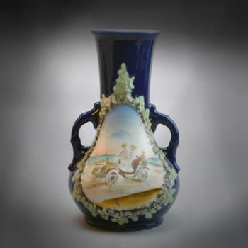 西洋彩绘双耳瓶-中国收藏网