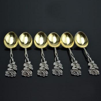 银镀金咖啡勺6个(花把)-中国收藏网