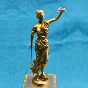 19世纪铜鎏金女神站像-中国收藏网