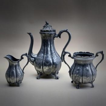 18世纪西洋银锡咖啡具3件套-中国收藏网