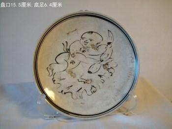 白釉褐彩婴戏纹盘-收藏网