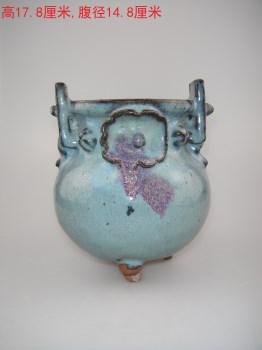 月青釉玫瑰斑双耳炉-收藏网