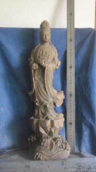 木雕观音,包红豆杉木,手有残,很高 -中国收藏网