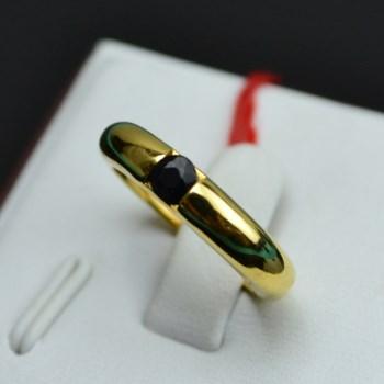 银镀金镶蓝宝石戒指-收藏网
