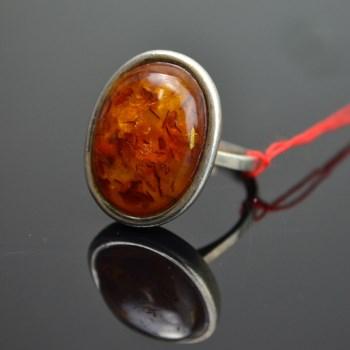 18世纪纯银花珀戒指-收藏网