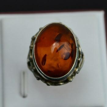 925银蜜蜡戒指-收藏网