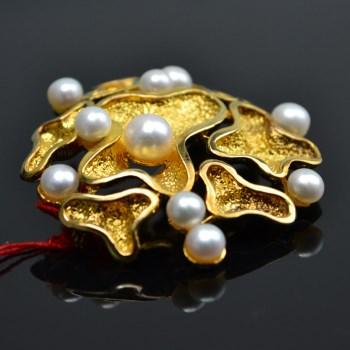 银镀金镶珍珠胸针-收藏网