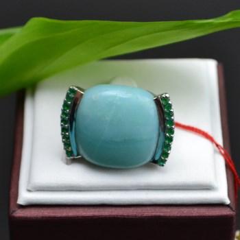 银镶宝石(亚马逊宝石)戒指-收藏网