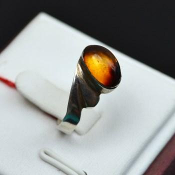 925银猫眼琥珀戒指-收藏网