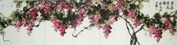 崔学坤八尺横幅国画葡萄紫气东来编号4961-收藏网
