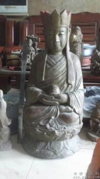 木雕佛像,眼睛是琉璃的,大啊,重46斤,民国的 -收藏网
