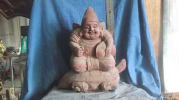 木雕渔翁骑在寿龟上,笑的好开心 -中国收藏网