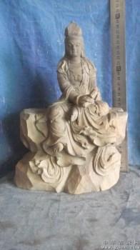 木雕持卷观音像,红豆杉雕刻的,非常好-中国收藏网