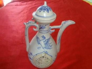 ◆ 精品 明早期安南窑镂空鸳鸯酒壶-收藏网