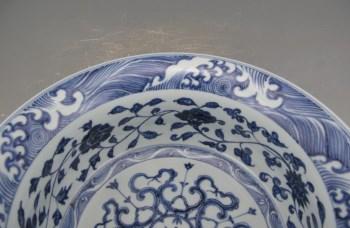 明永乐青花花卉纹折沿洗-收藏网