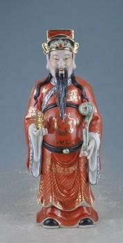 民国福建会馆款矾红描金财神-收藏网