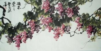 崔学坤四尺国画葡萄硕果累累编号4995-收藏网