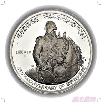 美国华盛顿诞辰250周年纪念银币-收藏网