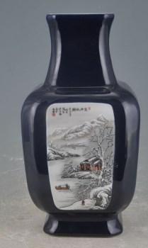 民国珠山八友何许人霁蓝开光雪景方瓶 -收藏网