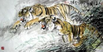 广西美协时育林·四尺走兽虎牛-收藏网