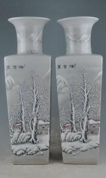 民国珠山八友何许人雪景方瓶一对-收藏网