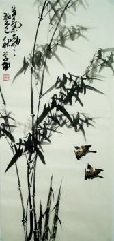 崔学坤三尺条幅国画竹子编号5001-收藏网