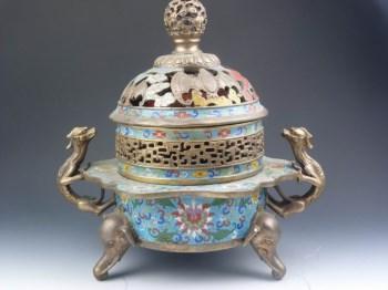 清代 珐琅彩香炉-收藏网