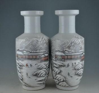 民国珠山八友何许人雪景棒槌对瓶-收藏网