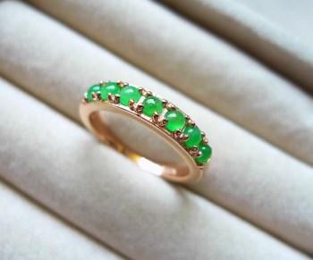 翡翠A货老冰种满阳绿925银豪华戒指-收藏网