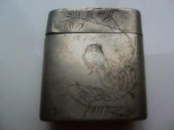 清代美女白铜烟盒-收藏网