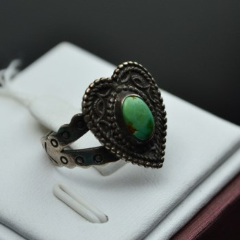 银镶绿松石戒指-中国收藏网