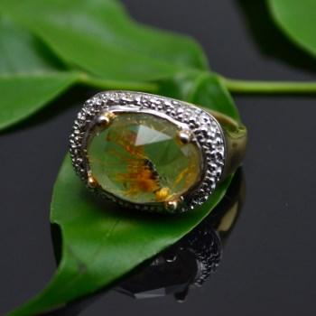 银镀金镶黄水晶戒指-中国收藏网