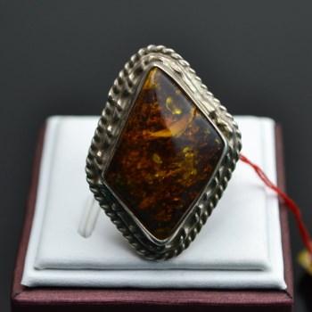 925银琥珀戒指-中国收藏网