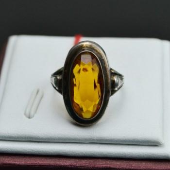 银镶合成黄宝石戒指-中国收藏网