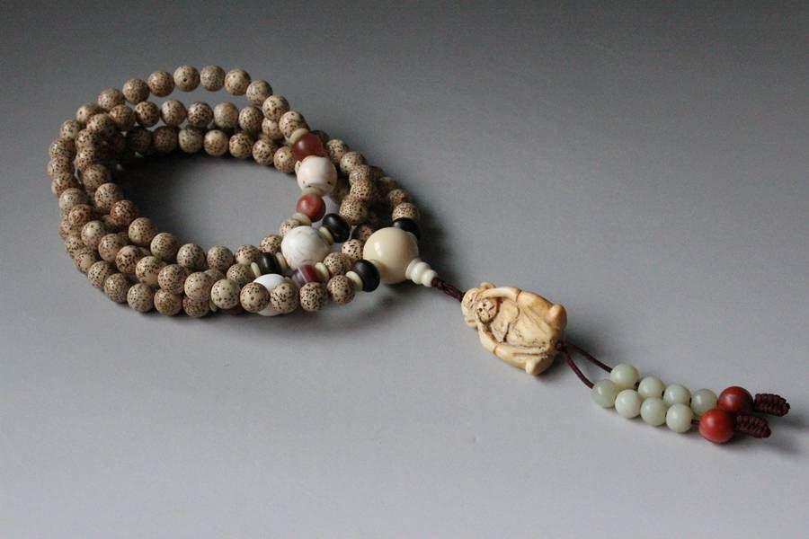 108粒精挑星月菩提子圆珠,粒大型好色美,星月齐整,正星月,配有象牙果