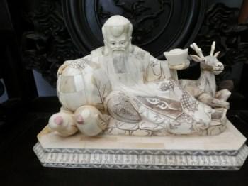 清代精品象骨雕寿星-中国收藏网