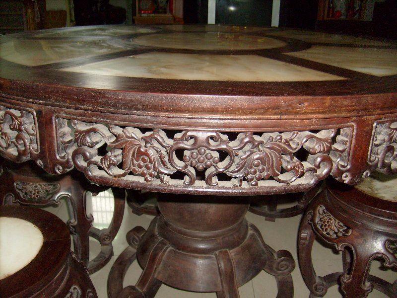 红木大理石圆桌-天好阁-中国收藏网