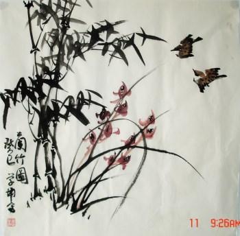 崔学坤四尺斗方国画兰竹图编号5043-收藏网