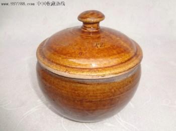 清代带盖老酱釉罐,酱黄釉盖罐-收藏网