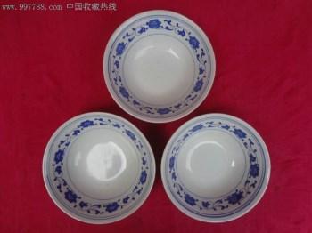 文革老瓷碗-景德镇缠枝连理纹青花大碗三只,造型端庄,漂亮-收藏网