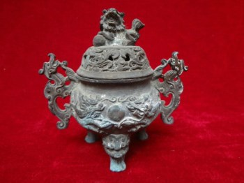 20多年前收来的双龙戏珠老铜熏香炉-中国收藏网