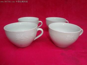 70年代景德镇窑白色精品花卉纹老瓷杯四只,器形典雅大方,现已少见-收藏网