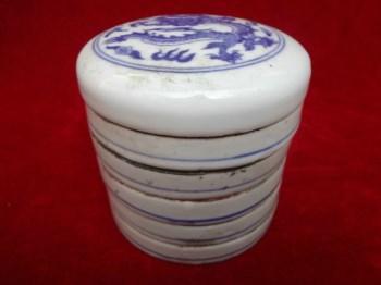 祥龙青花瓷老调色盒一套-收藏网