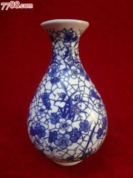 八十年代早期景德镇窑老玉壶春瓶酒瓶一只,1982年老梅兰春青花瓷瓶,非常别致-收藏网