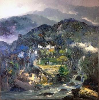 山脚人家,当代中国著名油画家王柏松原创风景-收藏网