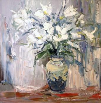 瓶花-蓝白,当代中国著名油画家王柏松-中国收藏网