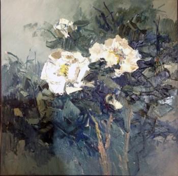 白花,当代著名画家王柏松原创花卉-收藏网