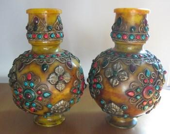 镶嵌宝石瓶一对-收藏网