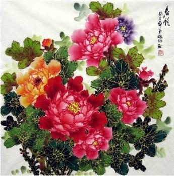陶秋明·四尺斗方描金牡丹-中国收藏网