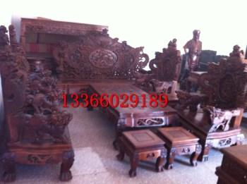黄花梨龙纹十二件桌椅 可议价-收藏网